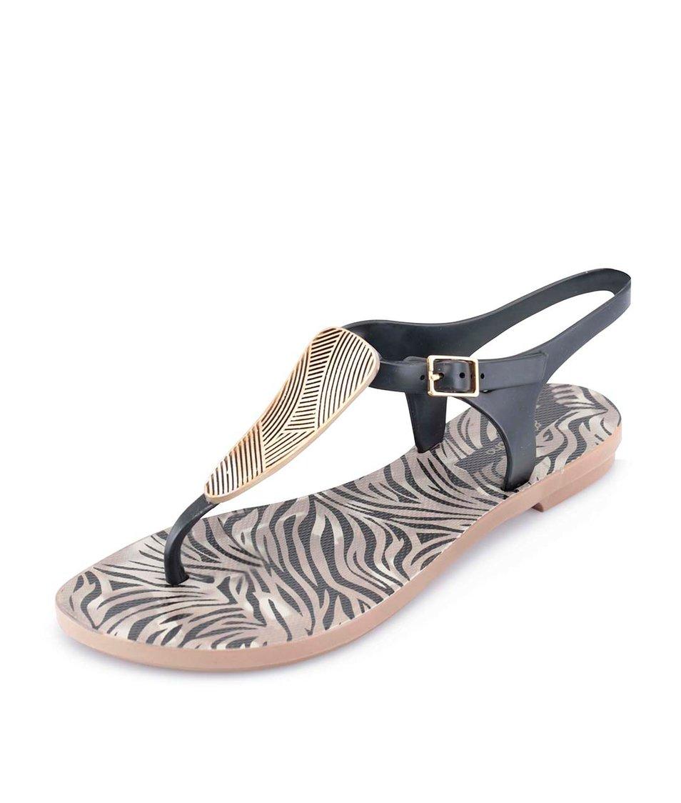 Černé sandálky se zebřím vzorem Grendha Savannah Sandal