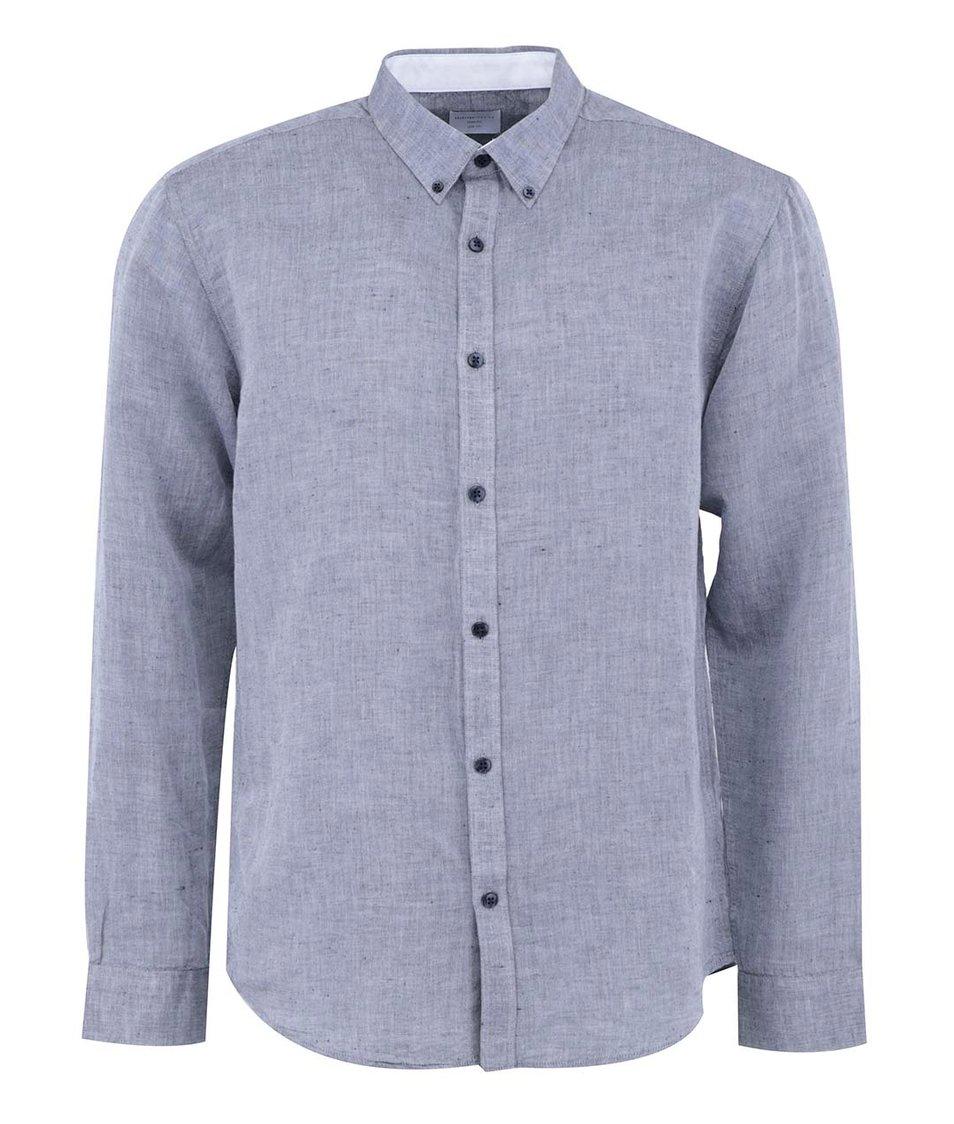 Modrošedá košile s dlouhým rukávem Selected Lino Slim Fit