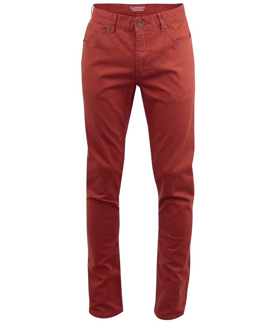 Oranžové slim kalhoty Element Boom Cognac