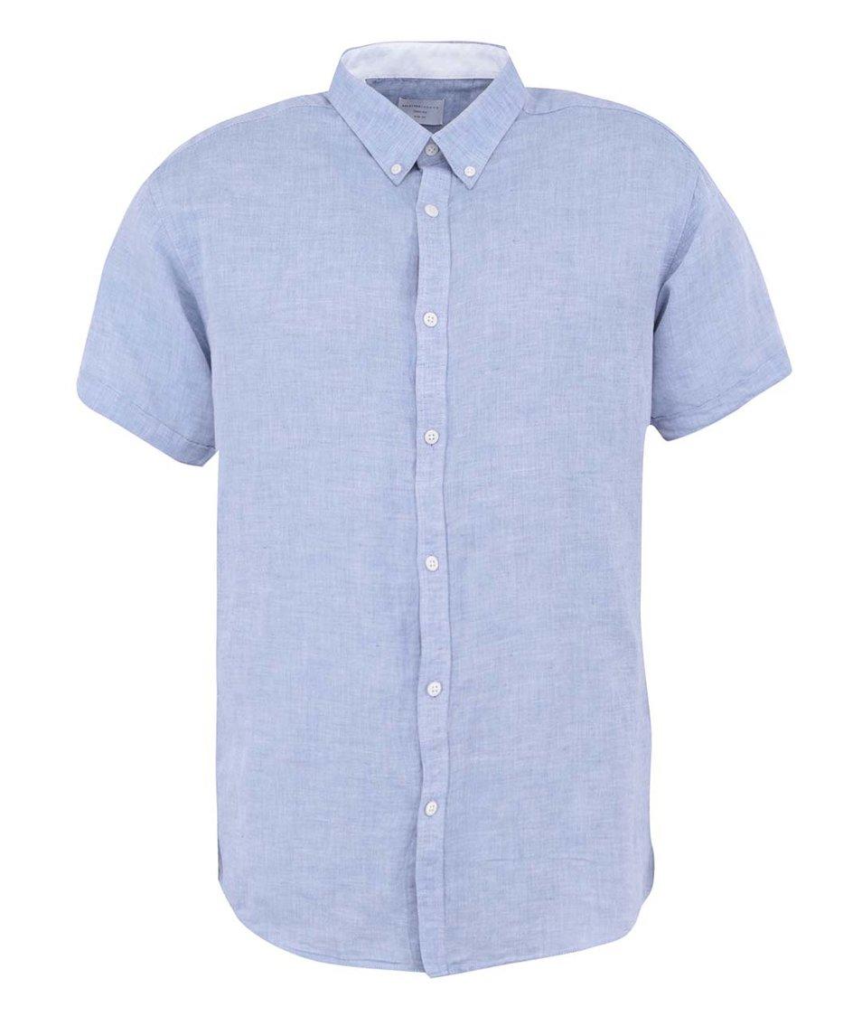 Světle modrá košile s krátkým rukávem Selected Lino Slim Fit