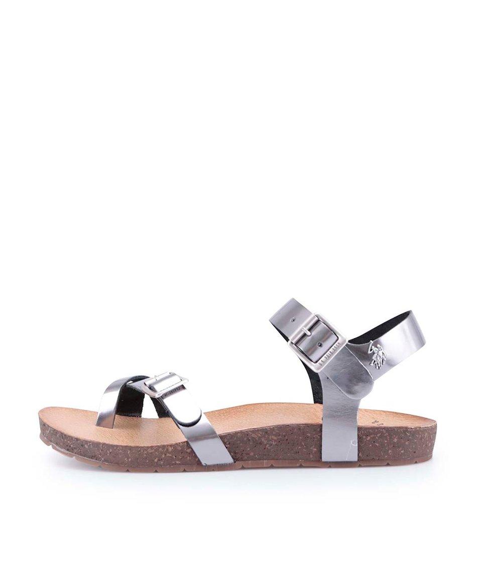 Stříbrné dámské kožené sandály U.S. Polo Assn. Liv