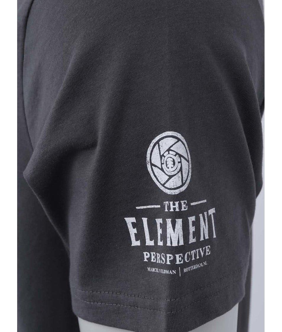 Tmavě šedé triko s potiskem Element Marcel Veldman