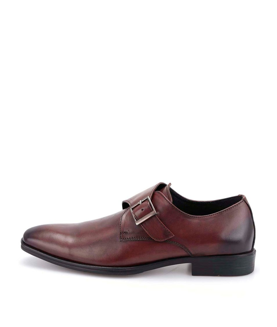 Hnědé kožené boty s přezkou Dice Cale