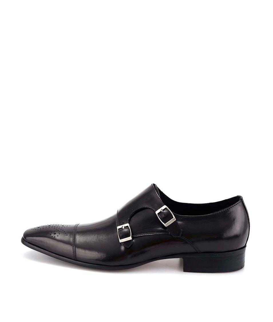 Černé kožené lesklé boty Dice Landon