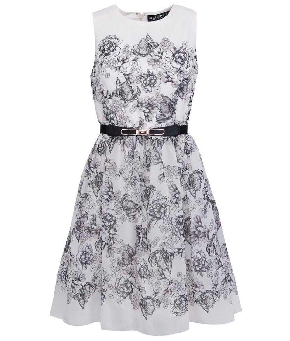 Krémové šaty s černými květinami Little Mistress