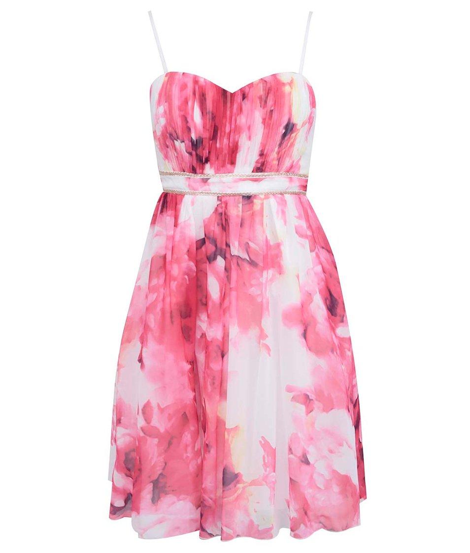 Růžové květované šaty Little Mistress