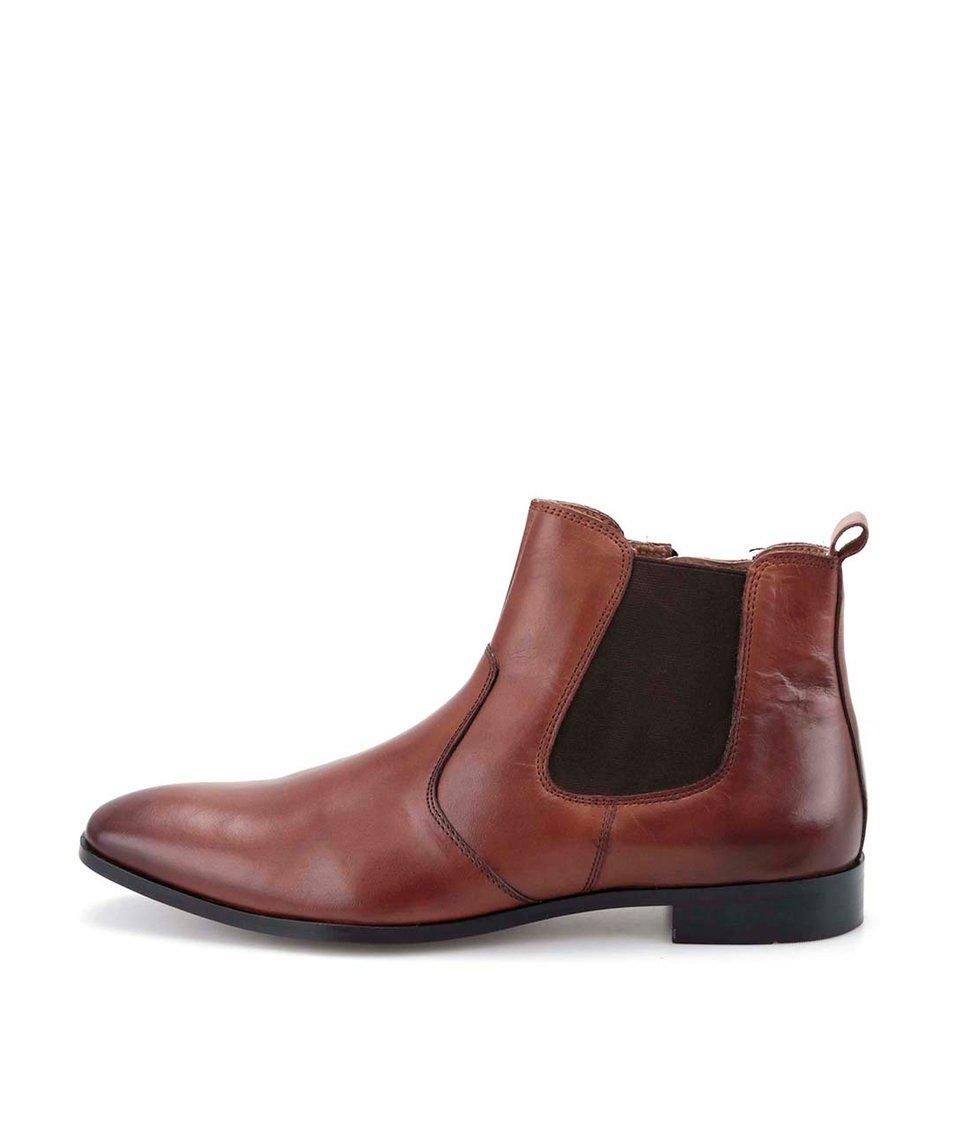 Hnědé kožené kotníkové chelsea boty Dice Wolford