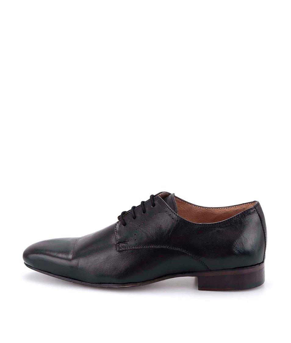 Černé kožené hladké boty Dice Colton