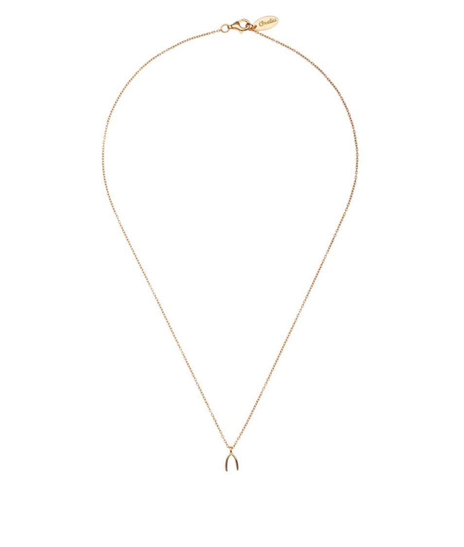 Delší náhrdelník ve zlaté barvě s přívěskem Orelia
