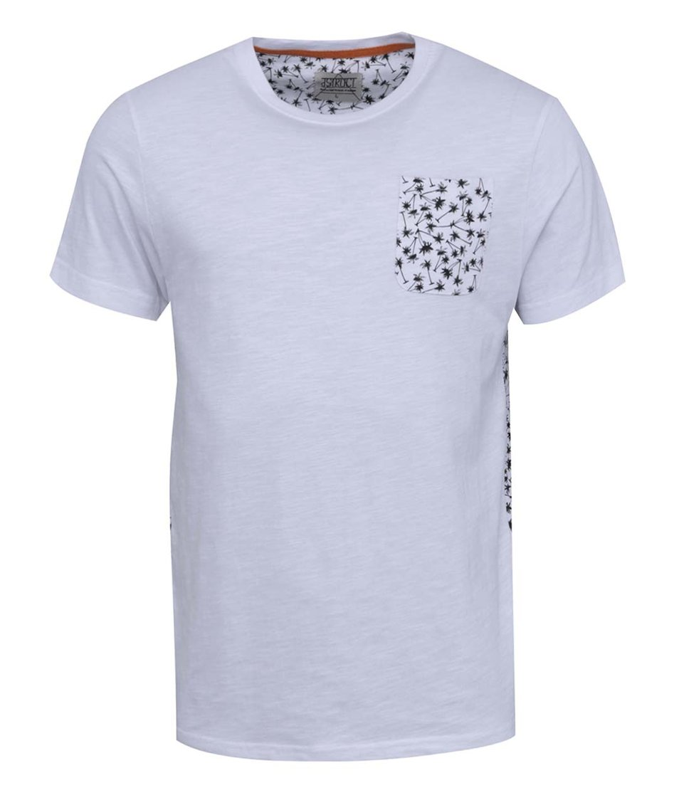 Bílé triko se vzorovanou kapsou a zády D-Struct Maximus