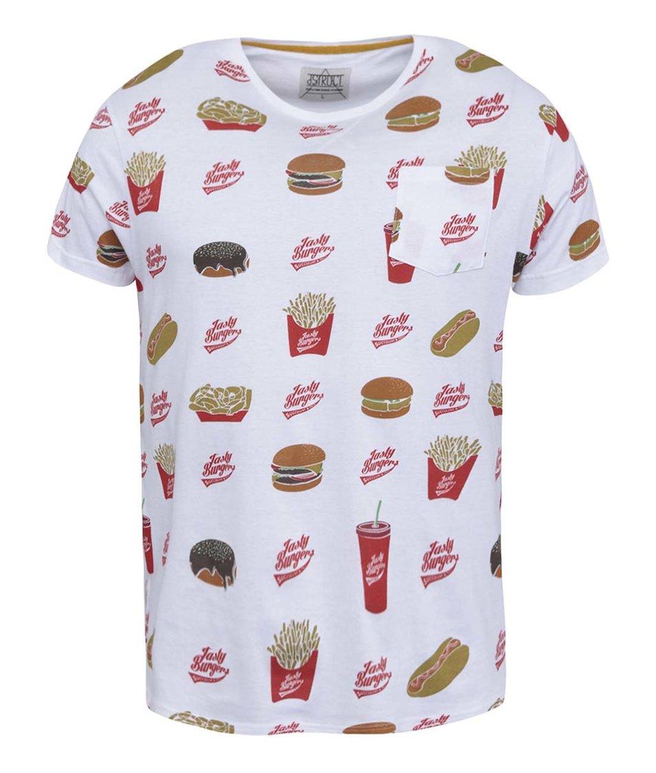 Bílé triko s fast food potiskem D-Struct Webster