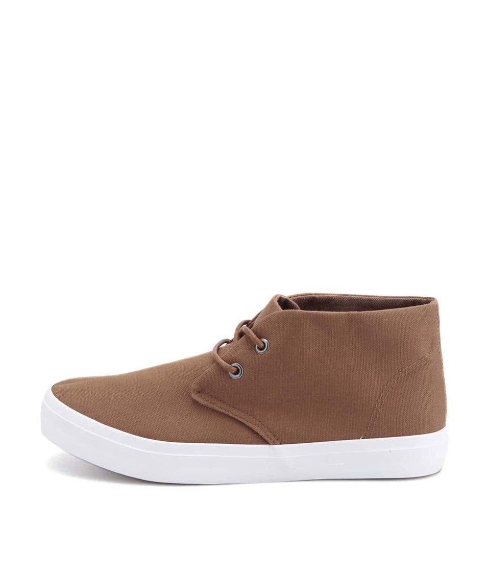 Hnědé plátěné kotníkové boty D-Struct Akan