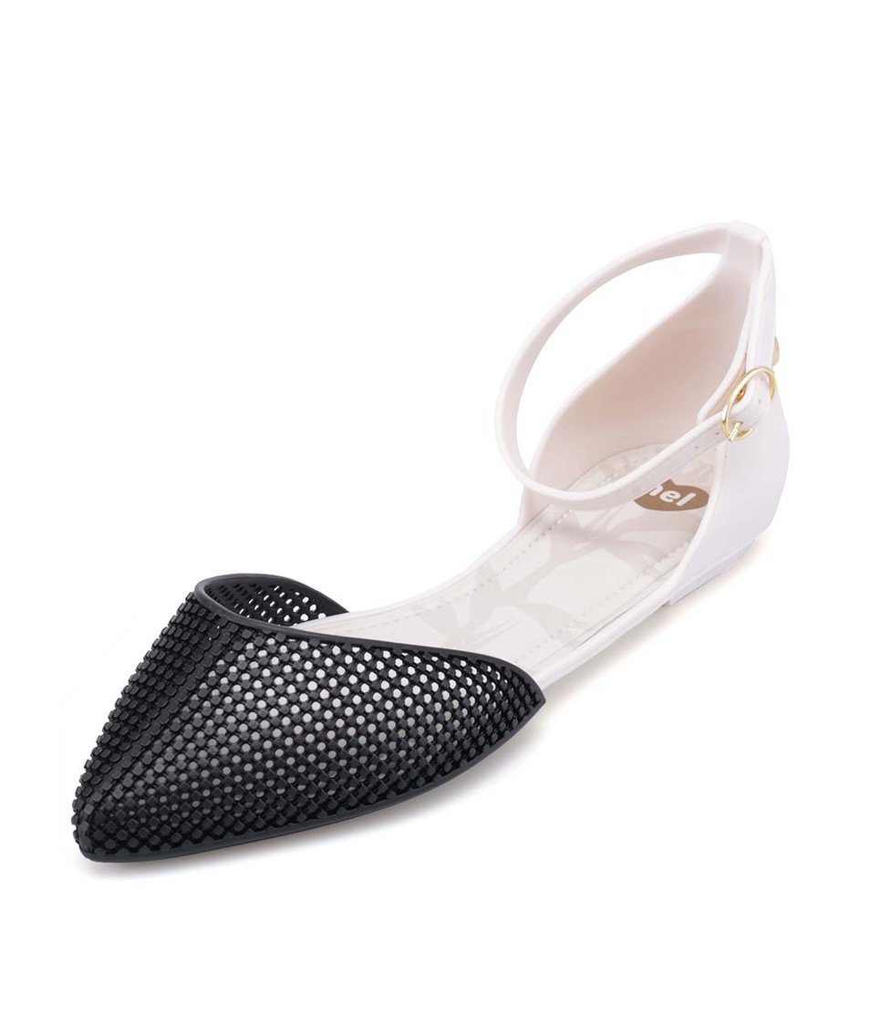 Černo-bílé plastové sandálky Mel Pitanga