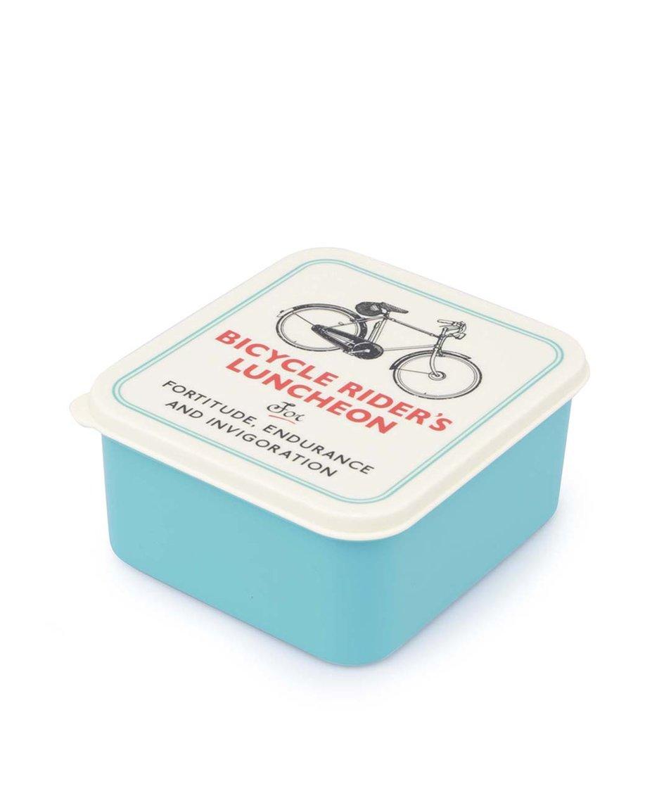 Tyrkysový retro svačinový box s cyklistickým motivem Rex