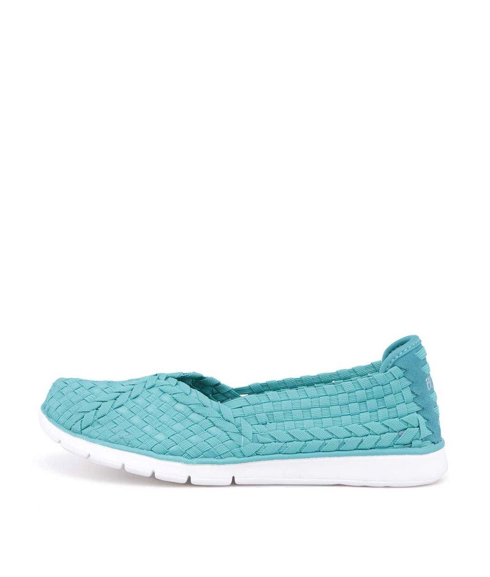 Modrozelené pletené slip-on tenisky Skechers