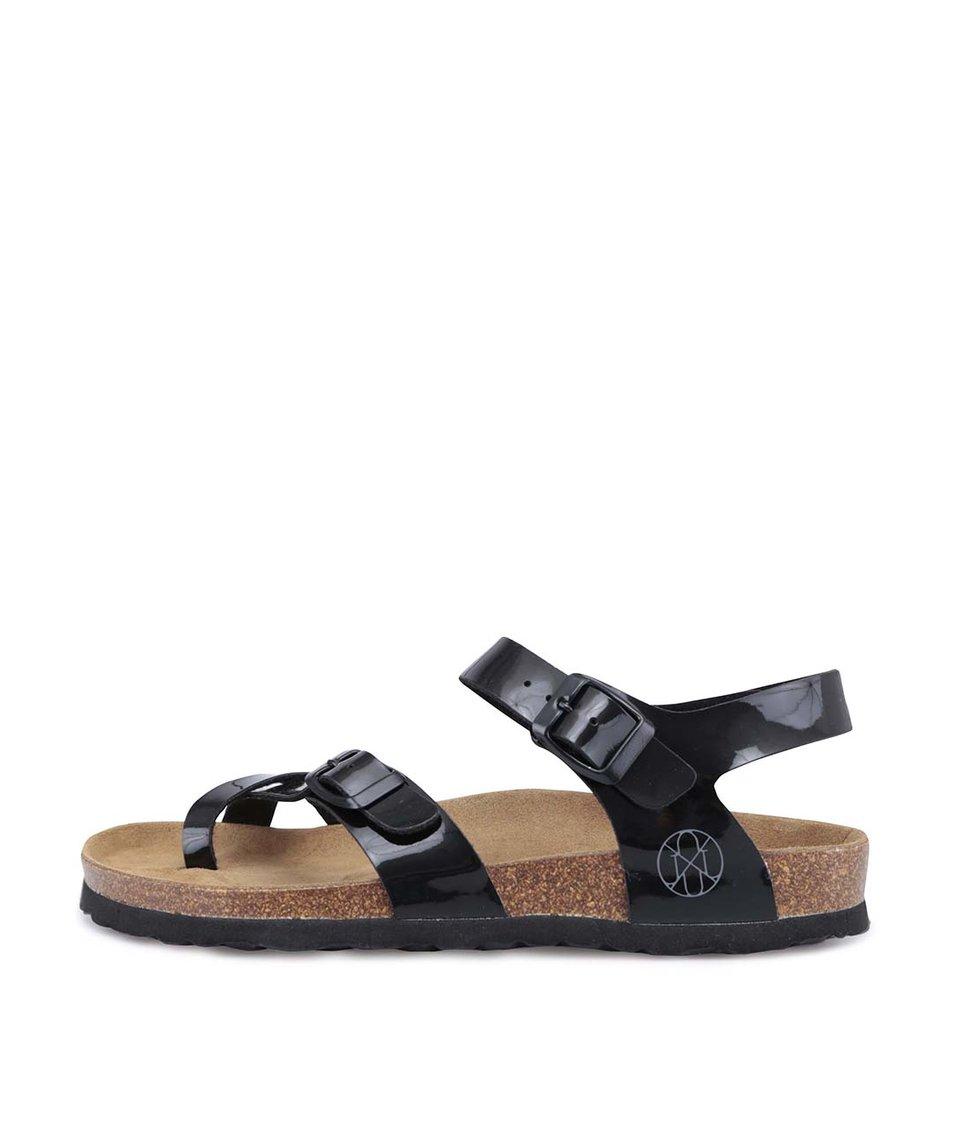 Černé lesklé sandálky OJJU