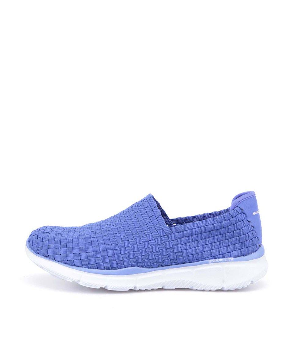 Modrofialové proplétané slip on tenisky Skechers