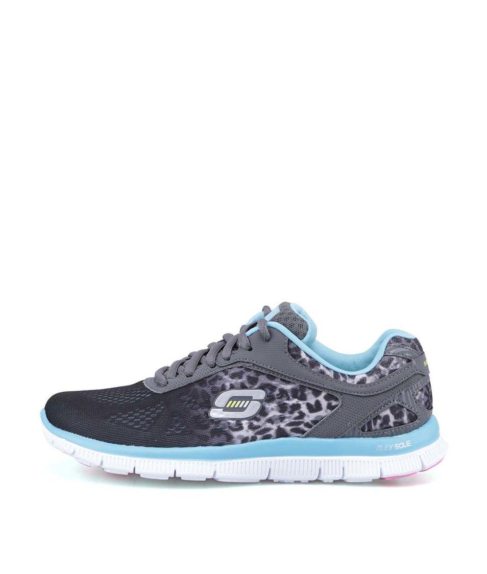 Modro-černé sportovní tenisky s leopardím vzorem Skechers