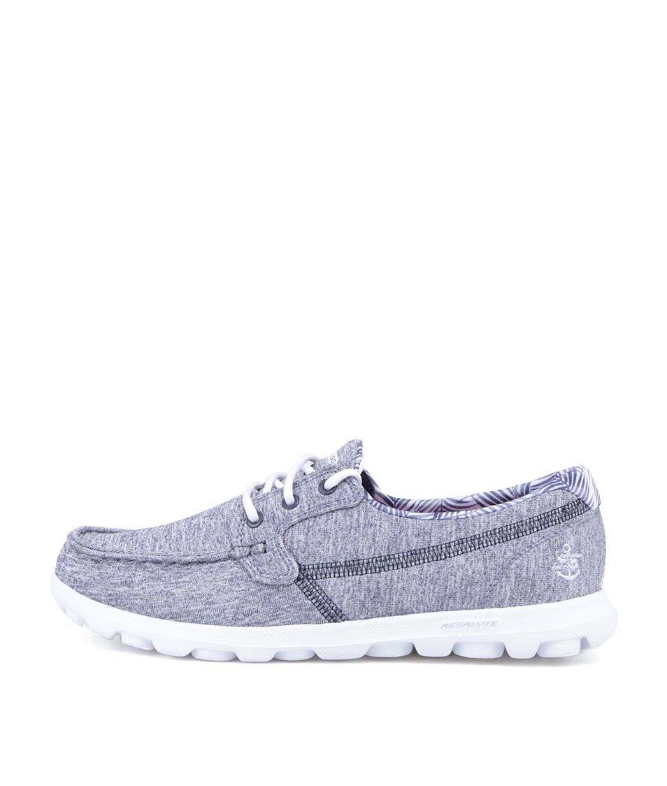 Modro-šedé žíhané tenisky Skechers