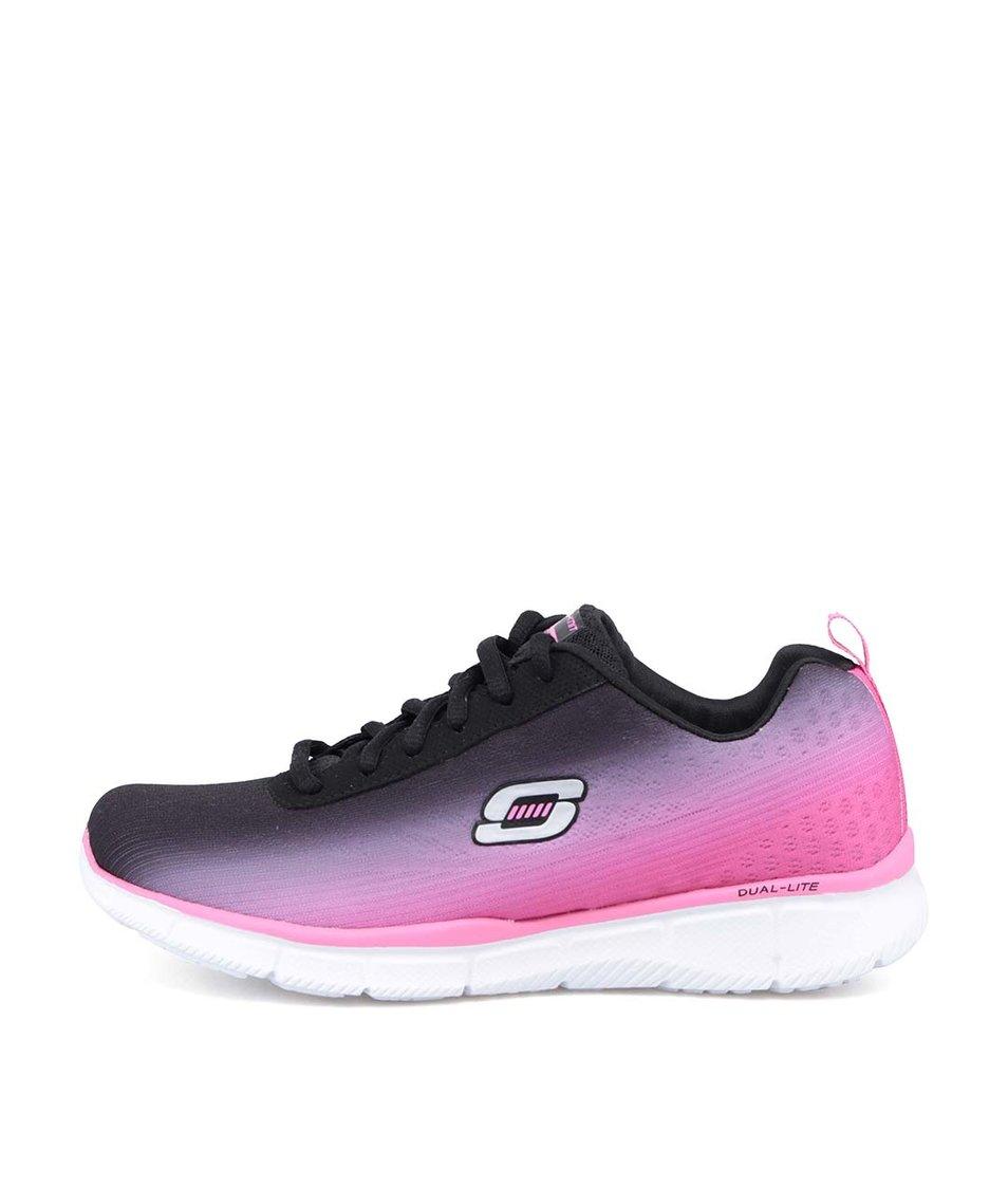 Černo-růžové sportovní tenisky Skechers