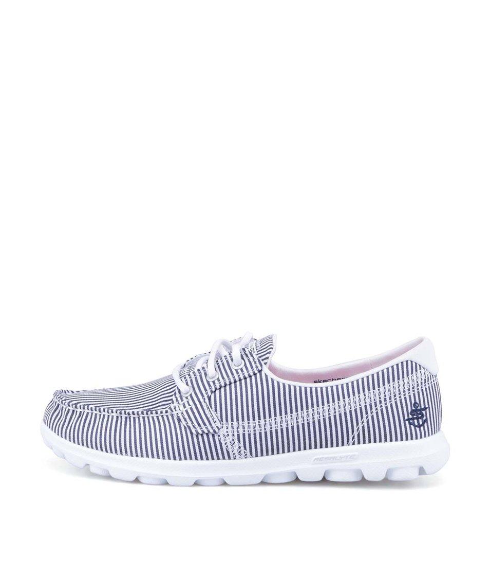 Modré proužkované tenisky Skechers