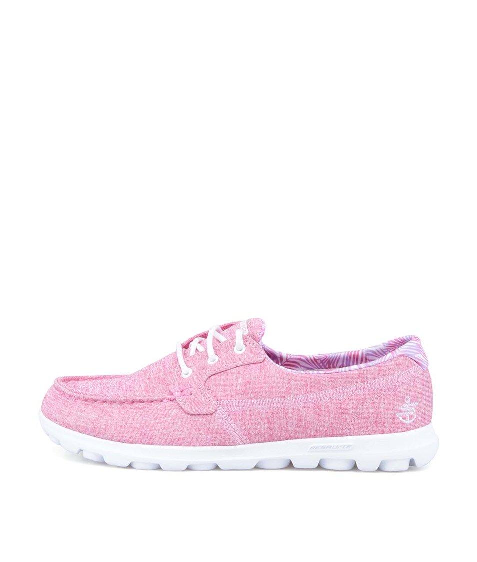Bílo-růžové žíhané tenisky Skechers