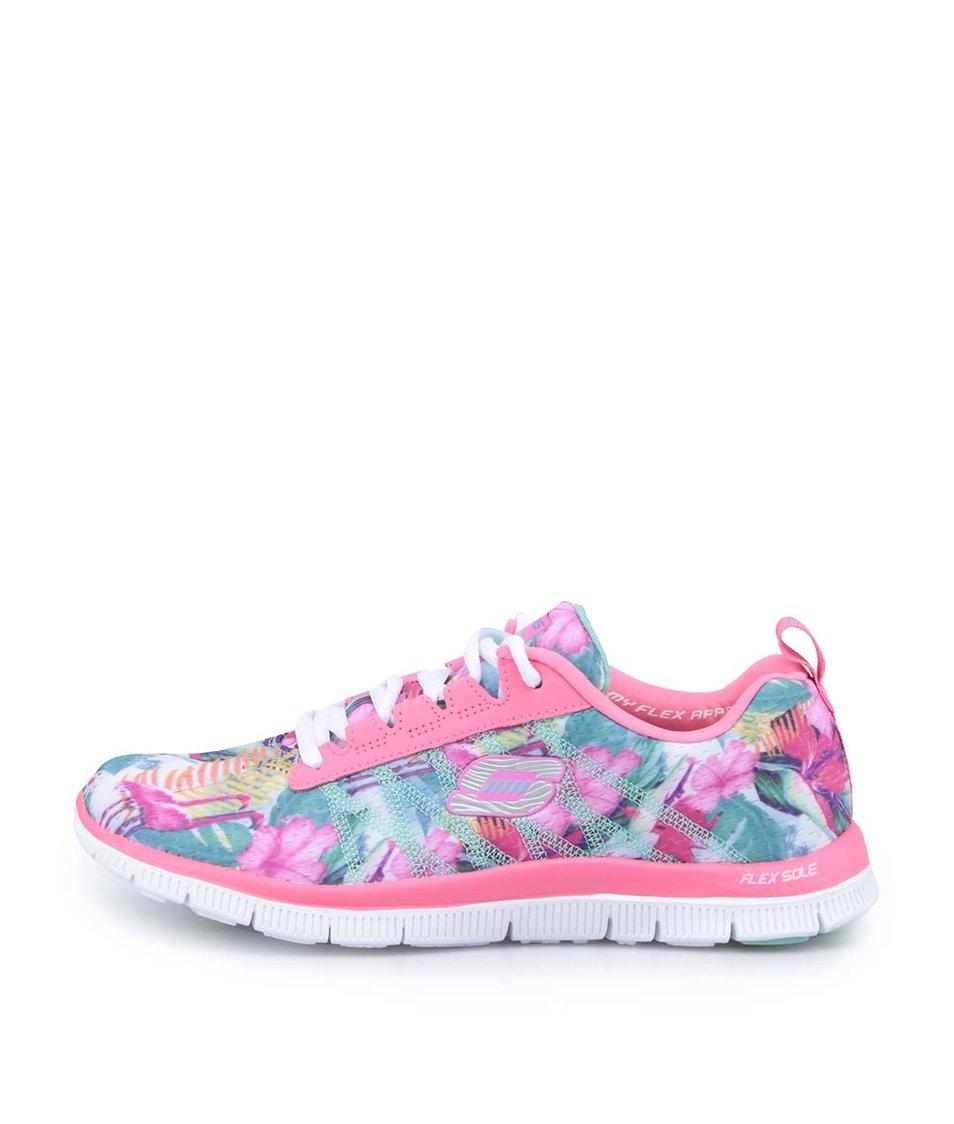 Růžové vzorované sportovní tenisky Skechers