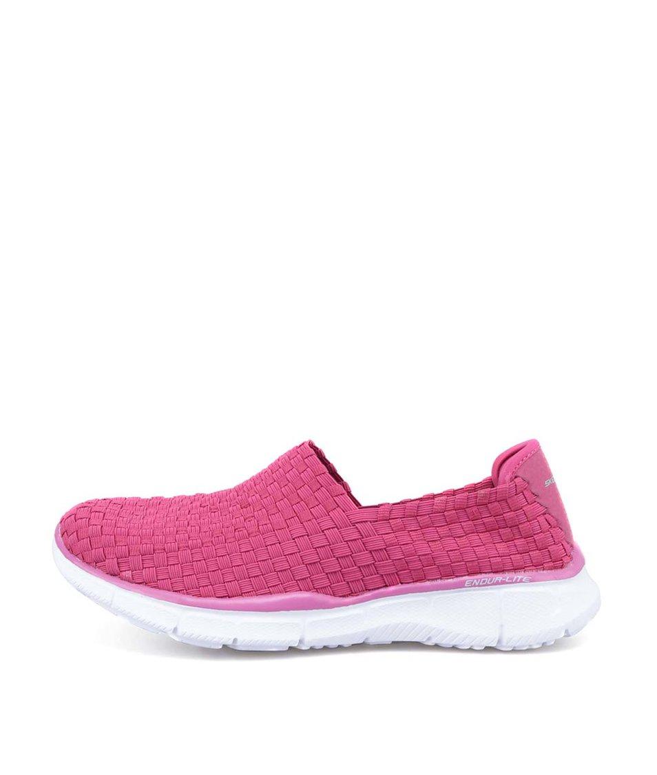 Růžové proplétané slip on tenisky Skechers
