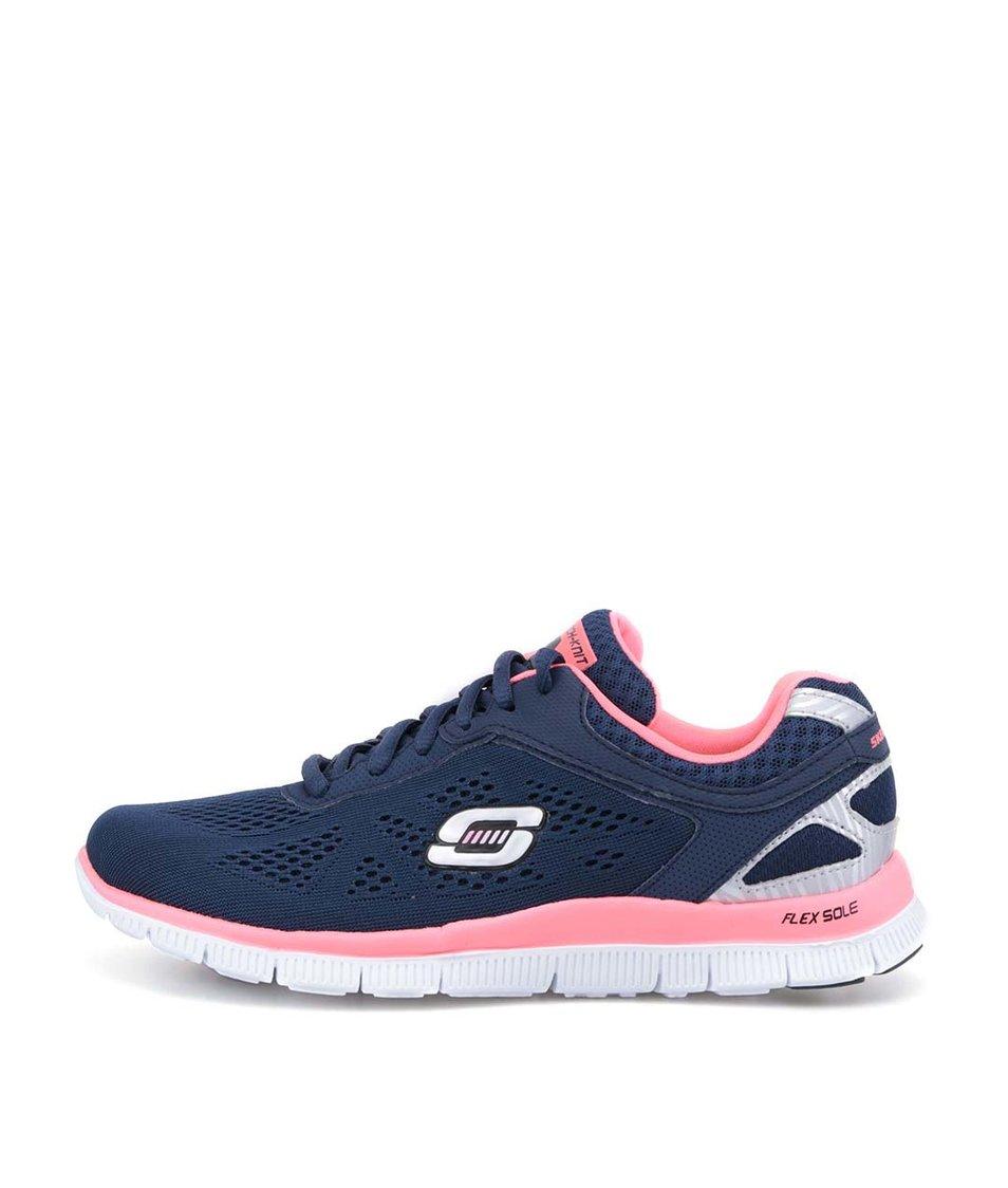 Tmavě modré sportovní tenisky s růžovými detaily Skechers