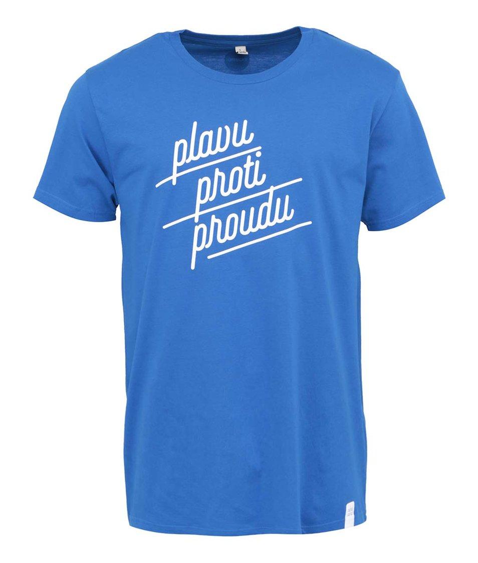 """""""Dobré"""" modré pánské triko s potiskem pro Náplavka k světu"""