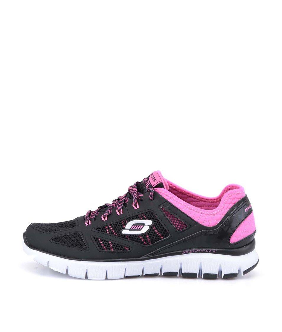 Černé sportovní tenisky s růžovými detaily Skechers