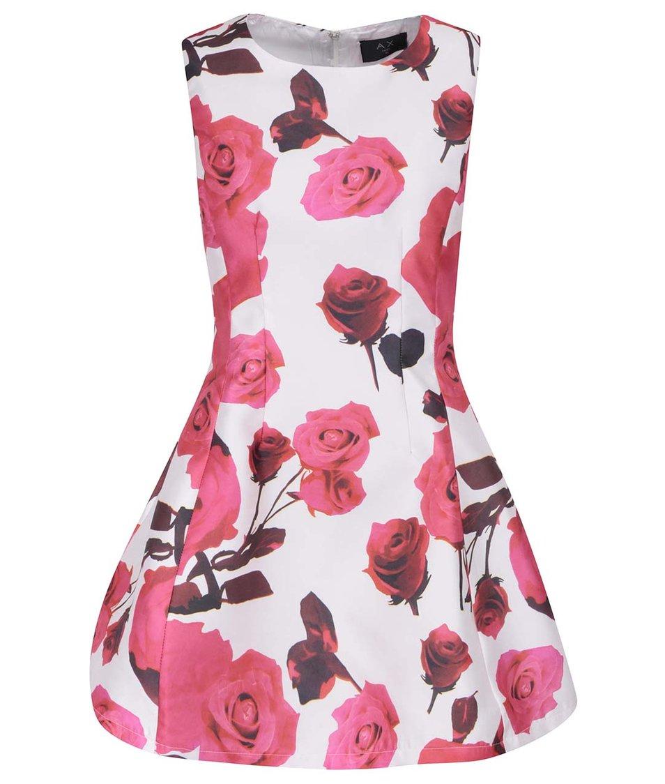 Krémovo-růžové minišaty s květy AX Paris