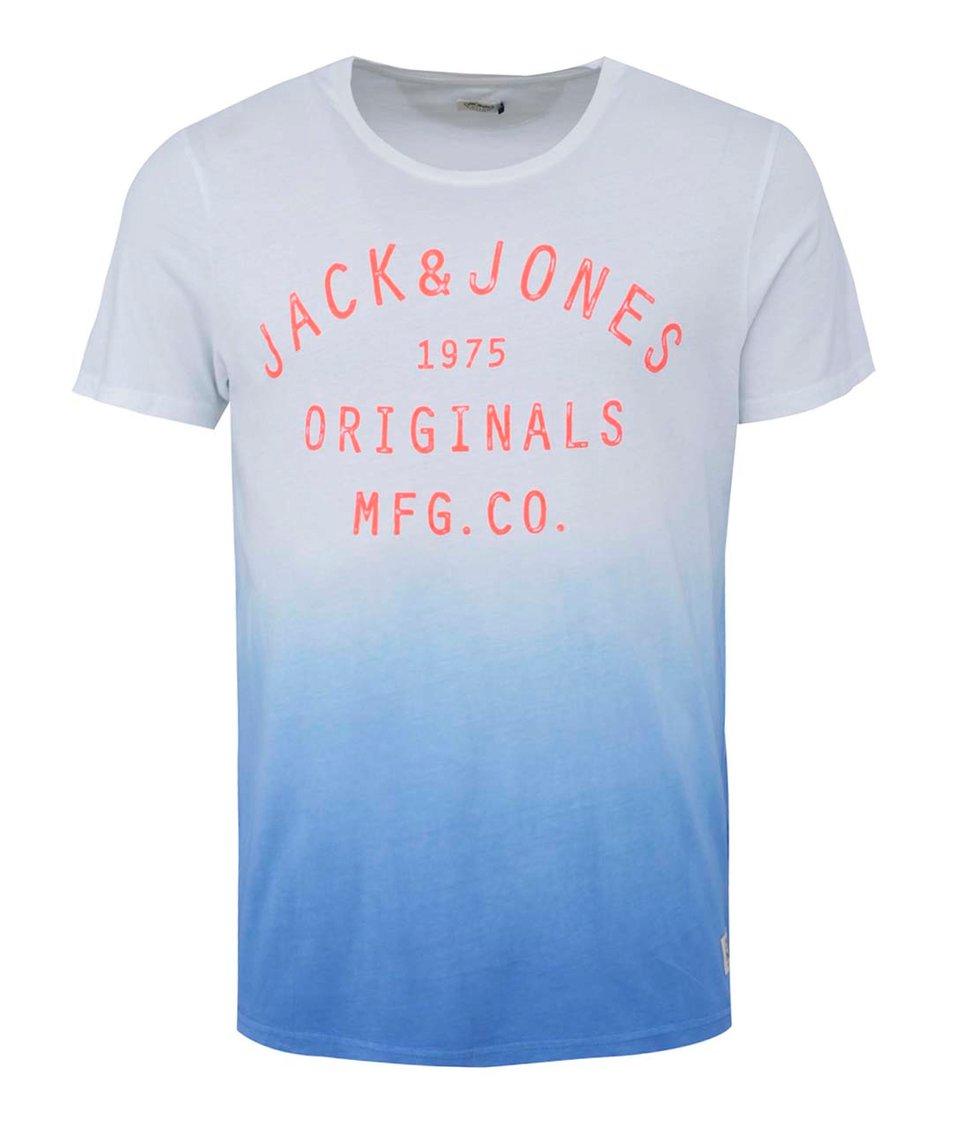 Modro-bílé tričko s ombre efektem Jack & Jones Mate