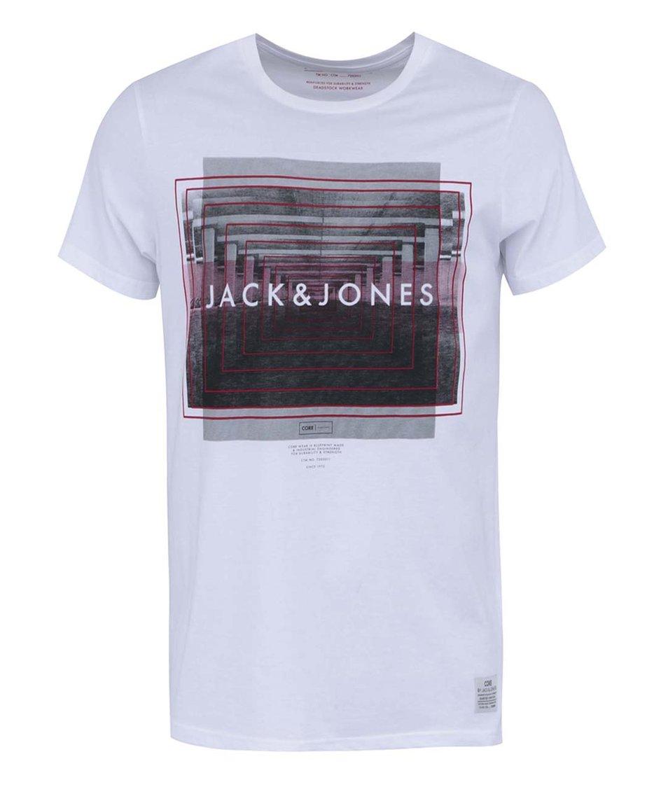 Bílé tričko s potiskem Jack & Jones Coshock