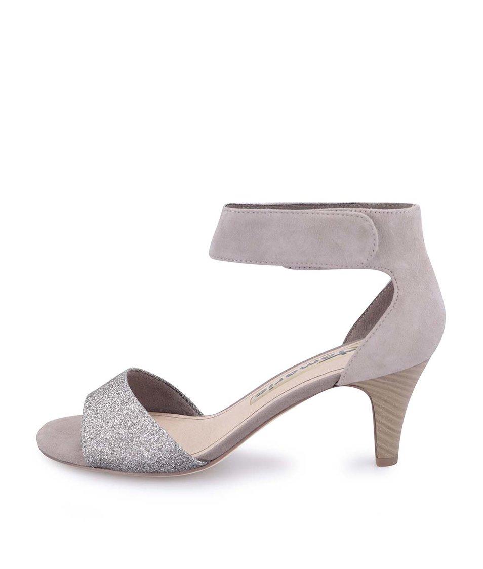 Béžové semišové sandálky s třpytivým páskem Tamaris