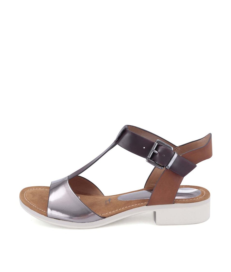 Hnědé sandály s metalickým páskem Tamaris