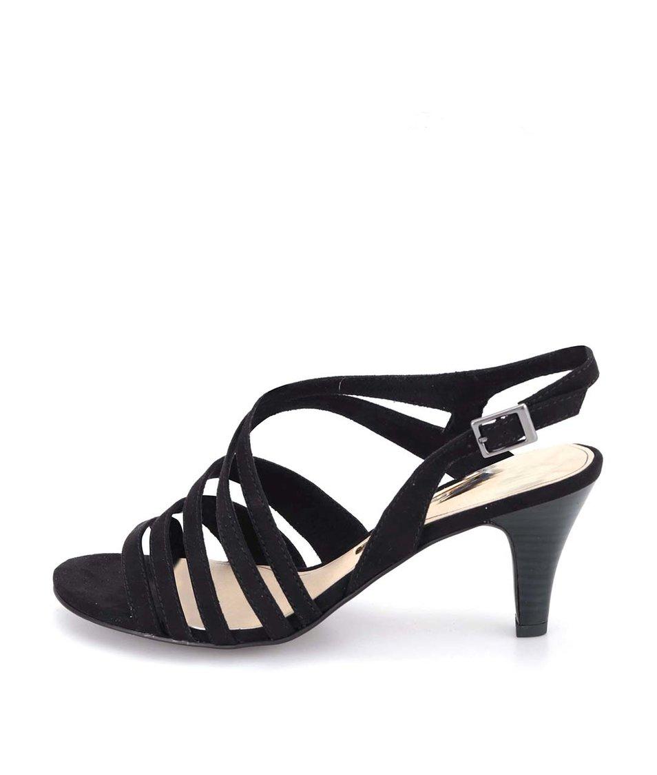 Černé páskové sandálky na nižším podpatku Tamaris