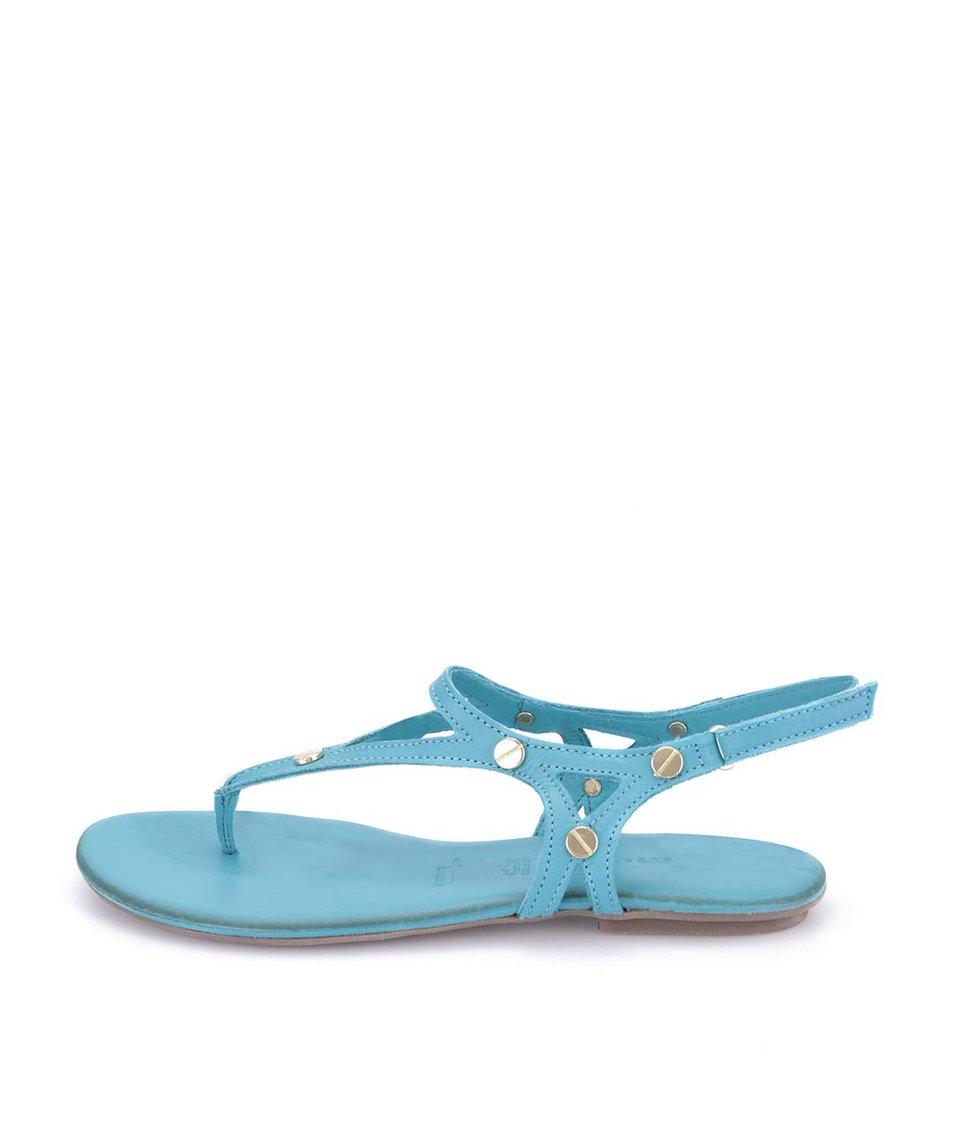 Tyrkysové kožené sandálky Tamaris