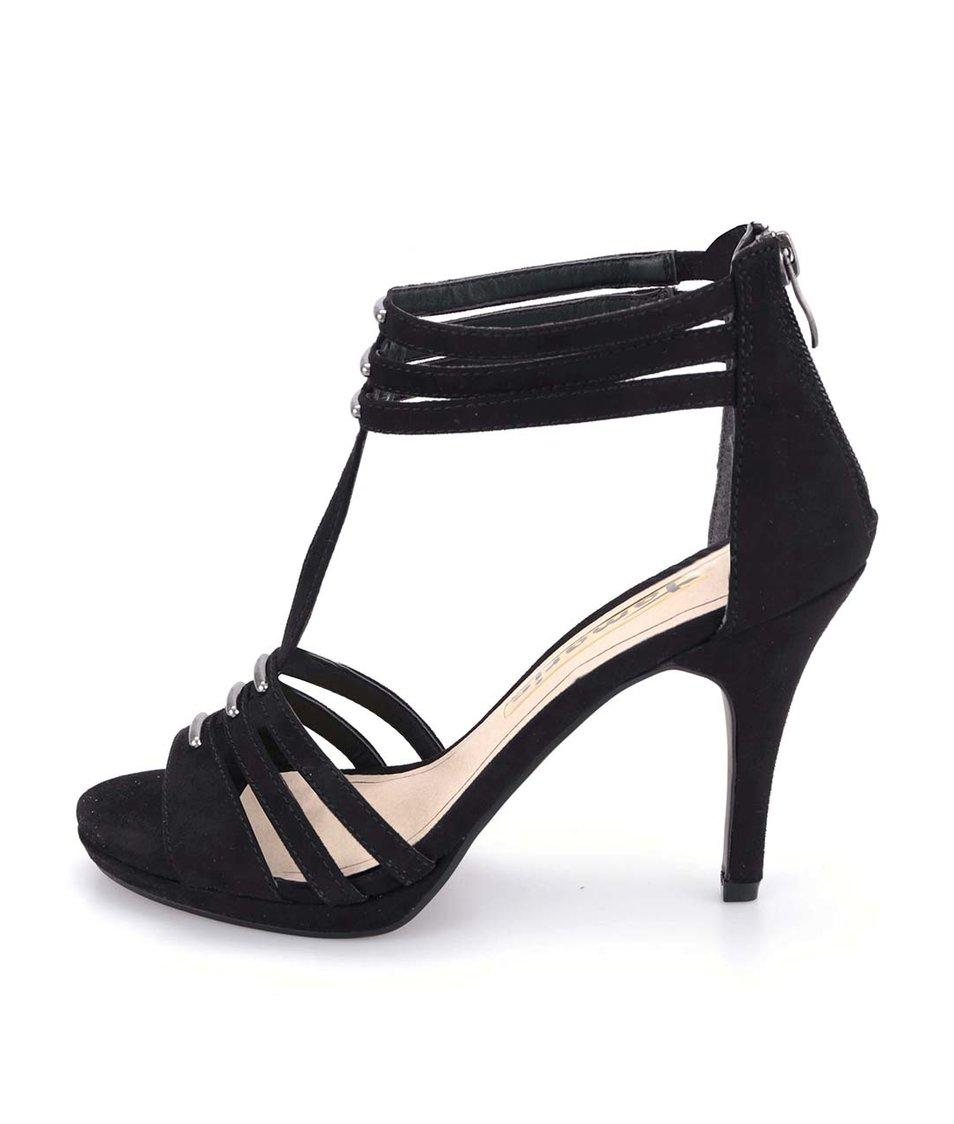 Černé páskové sandálky na podpatku Tamaris