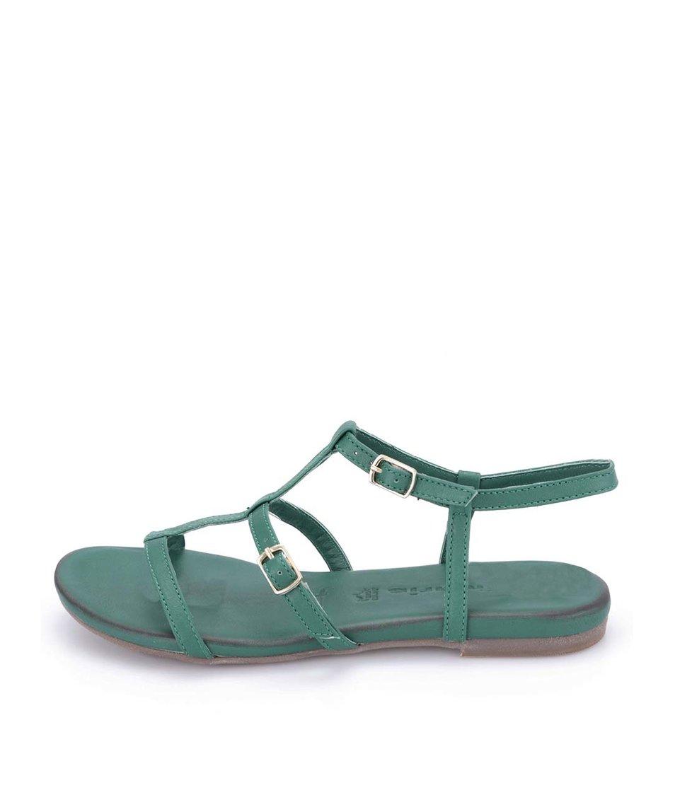Zelené kožené páskové sandálky Tamaris