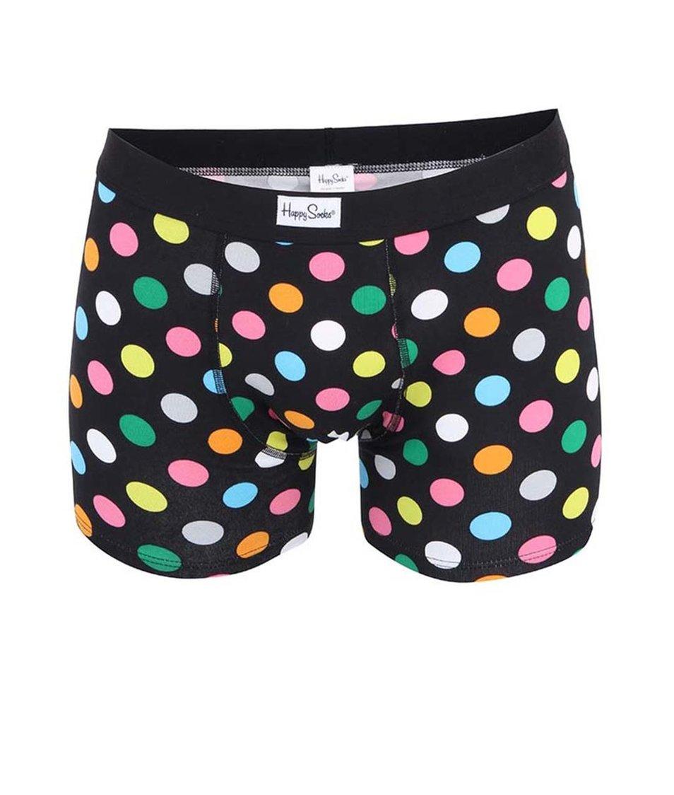 Černé boxerky s velkými barevnými puntíky Happy Socks Big dots