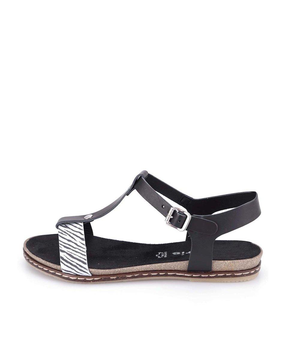 Černé kožené sandálky se zebrovaným páskem Tamaris