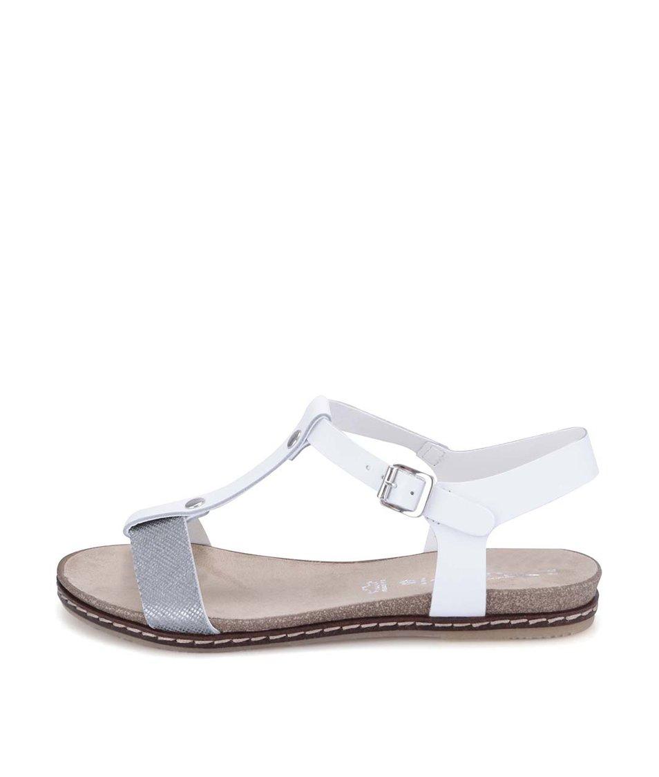 Bílé kožené sandálky se stříbrným páskem Tamaris
