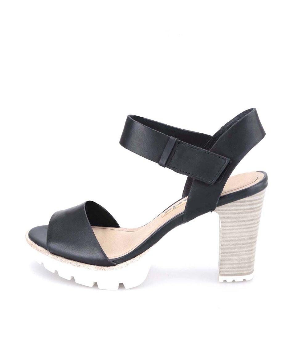 Černé kožené sandály na podpatku Tamaris