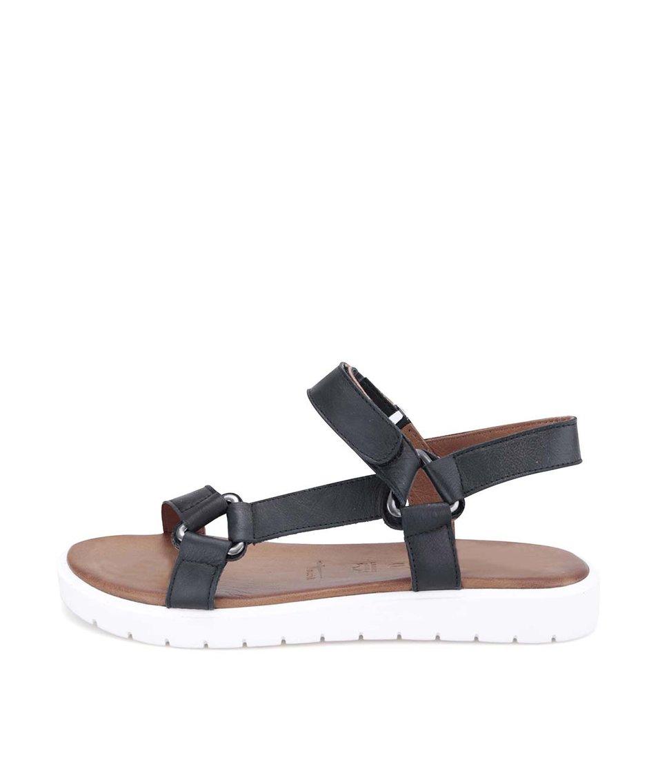 Černé kožené sandály s bílou podrážkou Tamaris