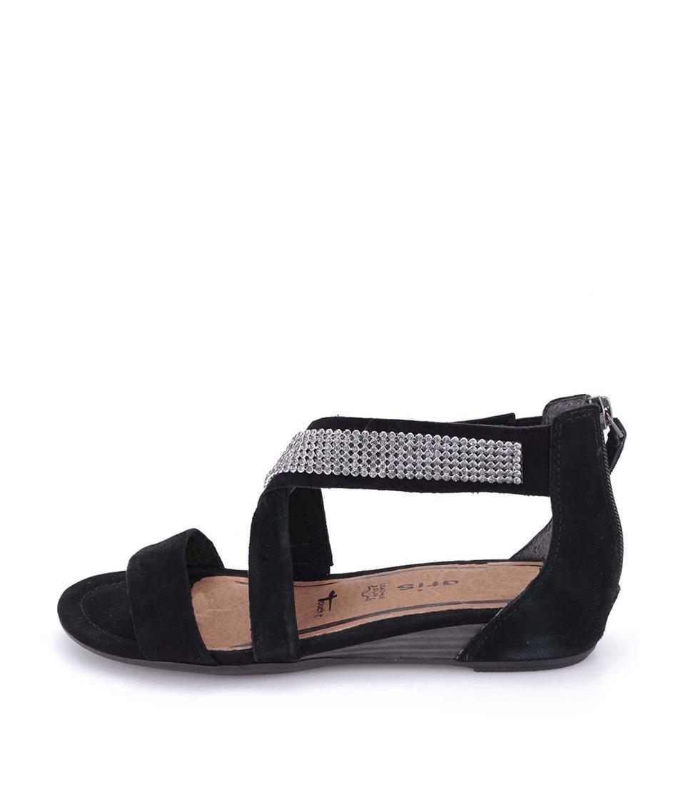 Černé kožené sandálky s kamínky Tamaris