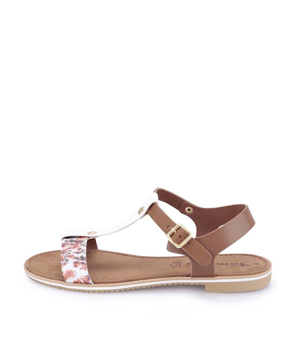 Hnědo-bílé kožené sandálky s kytičkami Tamaris