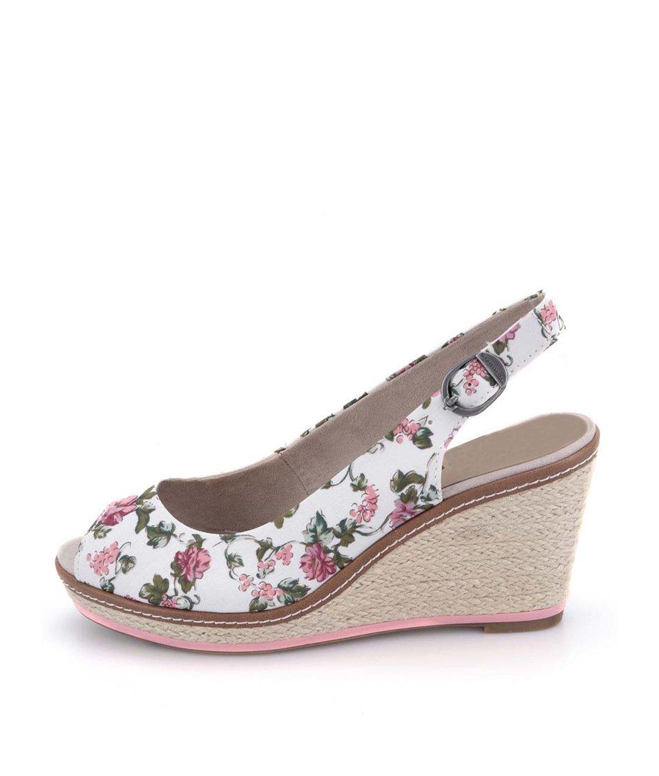 Bílé květované sandálky na klínu Tamaris