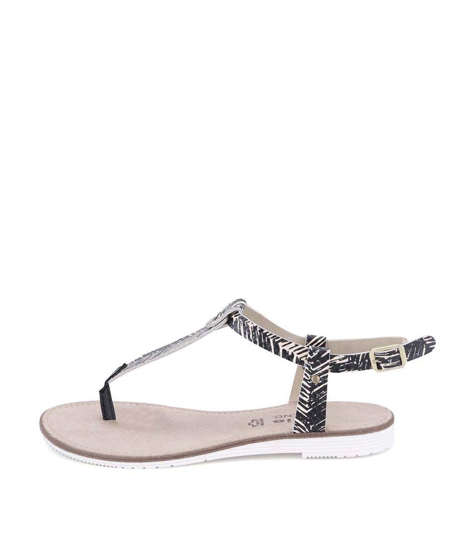 Béžovo-černé kožené vzorované sandálky Tamaris