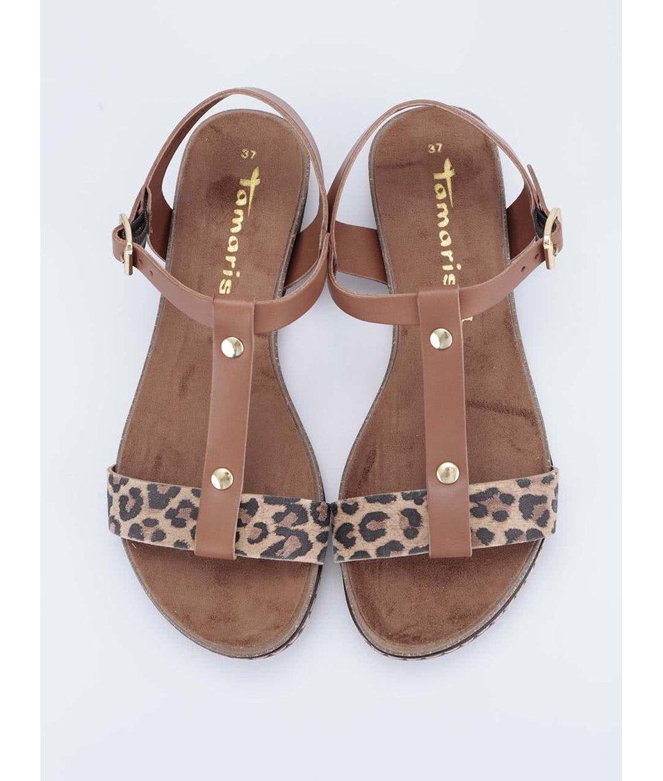 Hnědé kožené sandálky s leopardím páskem Tamaris